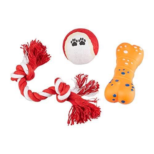 Relaxdays Hundespielzeug Set 3 TLG, Tennisball, Tauspielzeug, Gummiknochen, Welpenspielzeug, kleine Hunde & Welpen, bunt