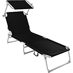 TecTake Chaise Longue Pliante Bain de Soleil avec Parasol Pare Soleil - diverses Couleurs et quantités au Choix - (1x Noir   No. 400655)