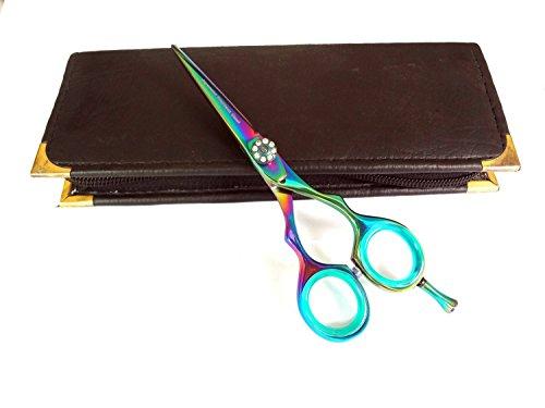 Professionnel de coiffure Ciseaux de coupe de cheveux ciseaux ciseaux Barber Salon Styling 14 cm Rasoir en acier japonais biseauté avec étui Titane