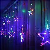 Igemy LED Sterne Weihnachten Hängenden Vorhang Lichter String Net Weihnachten Home Party Home Decor 4 M 200led (Mehrfarbig)