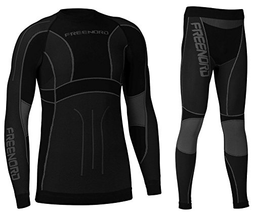 POWERTECH Herren Funktionswäsche Thermoaktiv Atmungsaktiv Base Layer SET Outdoor Radsport Running (Schwarz/Grau, M)