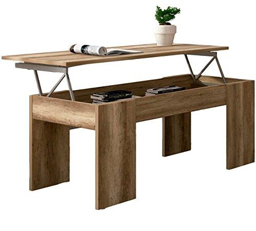 Studio Decor Table Basse relevable Lara, Couleur Bois Cérusé Marron, 100 x 50 x 45-58 cm