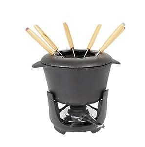 Crealys 103134 Service à Fondue 10 Pièces: Caquelon + Couvercle + Brûleur + Support Fonte + 6 Fourchettes