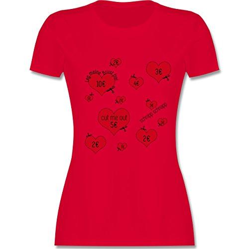 JGA Junggesellinnenabschied - Herzen ausschneiden JGA - tailliertes Premium T-Shirt mit Rundhalsausschnitt für Damen Rot