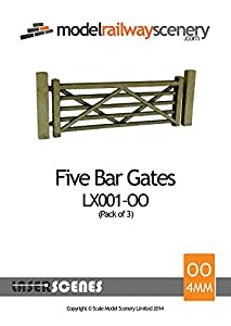 Laser Cut Five Bar Gates & Posts For Model Railway (Pack Of 3) – OO/4mm/1:76