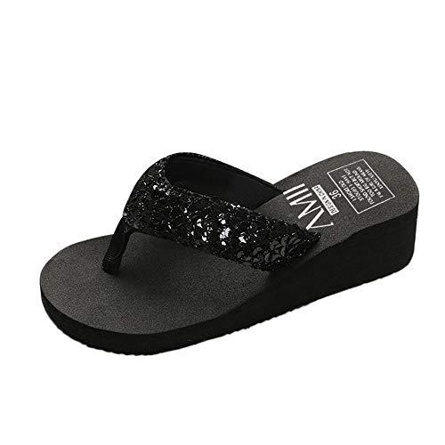Damen Schuhe, Mode Hausschuhe Sommer Mode Slipper Flip Flops Strand Keil Dicke Sohle Schuhe mit Absatz Flipflop Lässige Schuhe für zu Hause Stiefel Strandschuhe (39, ❀Schwarz)