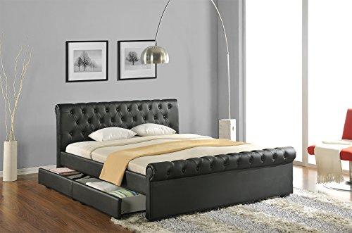 Doppelbett Polsterbett Bettgestell Bett Lattenrost Kunstleder (Schwarz, 180x200cm) thumbnail
