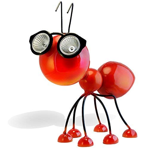 Smarty Gadgets - Gartenfigur rote Ameise mit solarbetriebenen LED-Leuchten, Außenfigur für Terrasse, Hof und Gartenverzierung und Dekoration