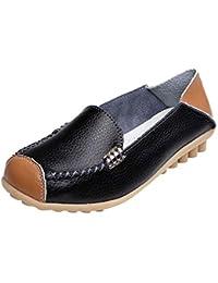 Zapatos de Plano de Cuero para Mujer Otoño Verano 2018 Moda PAOLIAN  Zapatillas de Vestir Mini Tacón Zapatos Cuña Suela Blanda Señora Casual… 297e2fcbb362