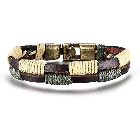 MG joyas Tribal cuero trenzado cuerda de línea doble Vintage pulsera pulseras para hombres mujeres