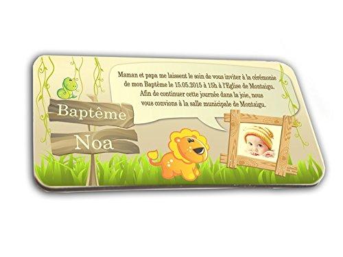 CARTE D'INVITATION en chocolat thème JUNGLE personnalisée avec votre photo et votre texte - pour baptême mariage communion - invitation en chocolat design et moderne vert anis et ivoire