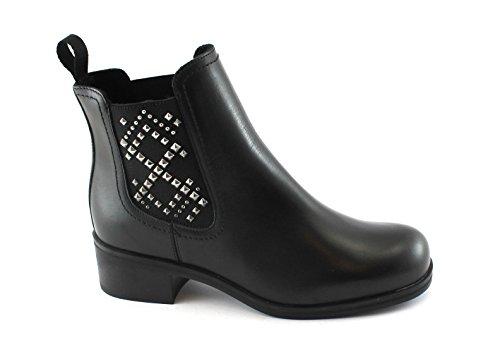 Frau Chaussures 94T4 Femmes Bottes Noires Bottines en Cuir Beatles Les Crampons