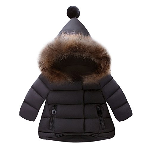 OVERDOSE Baby Jungen Mädchen Baumwolle Daunenjacke Steppjacke daunenmantel Winterjacke Winter Mantel Daunenjacke Dicke Warm Reißverschluss Kapuzenjacke (0-1 Jahre alt, A-Black)