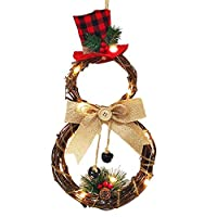 Amaae® Home Decoration Wreath Pendant LED Wreath Wall Hanging Christmas Wreath(Material:Rattan;Color:Multicolor)