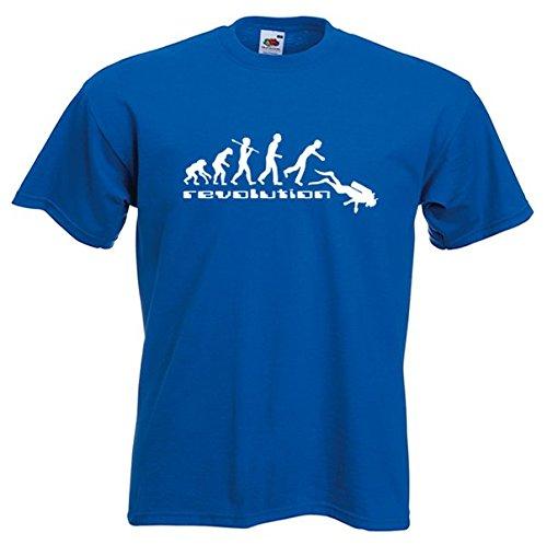 T-shirt évolution plongée plongeur couleur Bleu taille L