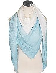 Mevina XXL Damen Schal Dip Dye Farbverlauf Karo groß quadratisch Uni Halstuch Baumwolle Oversized