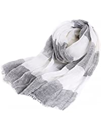 Prettystern - striped stripes 195cm long spring & summer 100% linen scarf - color choice