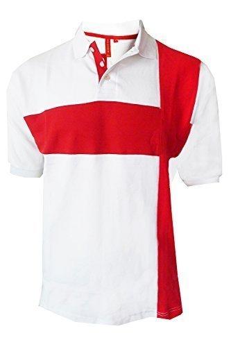Erwachsene Polohemd England-flagge Vintage Retro St Georges Fußball Kreuz T-stück Top Weiß - St Georg Flag