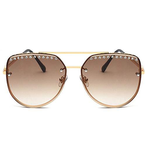 Style Classic Aviator Polarized Sonnenbrille für Männer Frauen Metallrahmen Spiegel UV400 Linsenschutzbrille, Teescheibe