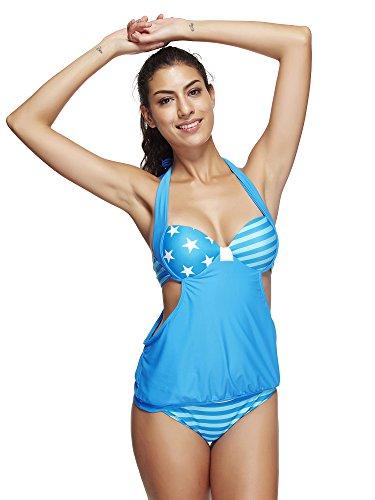 BOZEVON Donna Moda 2pcs Bikini Casuale Abito da Bagno Due Pezzi Beachwear Tankini Costumi da Bagno Stile B3