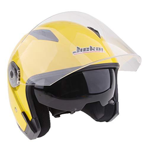 perfeclan Casco Moto Aperto 3/4 Viso con Visiera Anti-Nebbia Protezione Testa Moto - Giallo M
