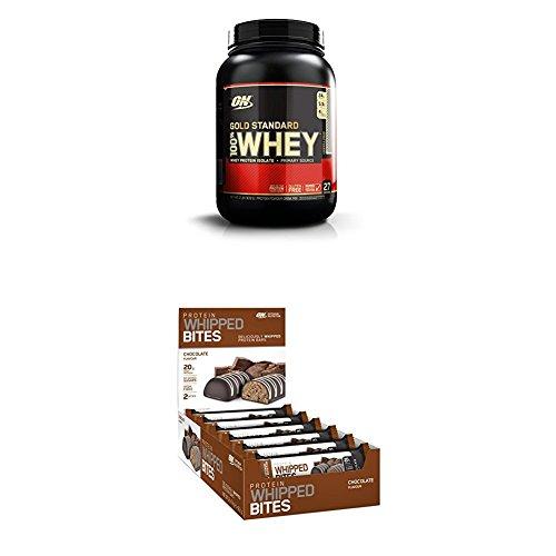 Designer Whey Protein Bars (Optimum Nutrition Whey Gold Standard Protein, Cookies & Cream, 0.9 kg + Optimum Nutrition Super softer Protein Bar (mit patentiertem Herstellungsverfahren, Whipped Bites ohne Zuckerzusatz) Chocolate)