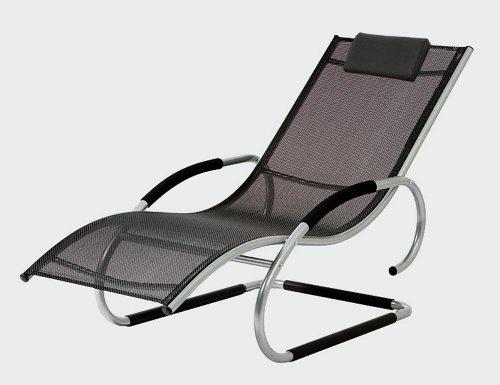 2er Set SIENA GARDEN Adria Swingliege Gestell: Aluminium silber Geflecht: schwarz, Bäderliege, Wellnessliege, Danto® Vorteils-Set