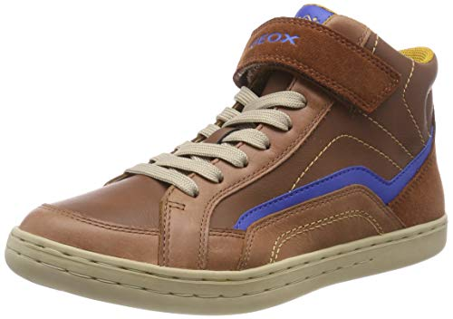 Geox Jungen JR Garcia Boy C Hohe Sneaker, Braun (Cognac/Royal C6169), 28 EU