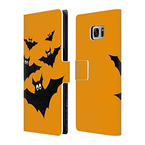 Head Case Designs Offizielle PLdesign Schwarze Fliegende Fledermaeuse Halloween Brieftasche Handyhülle aus Leder für Samsung Galaxy S7 Edge