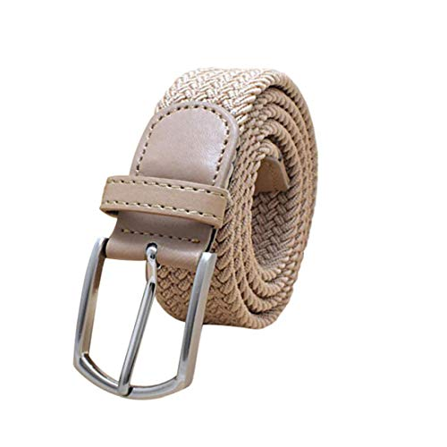 Irypulse Cinturón Trenzado de Lona elástica Hombres Mujeres Hecha elásticos Tela para Tejido Estiramiento Cuero de PU Hebilla de aleación Cinturones de Unisex Color sólido