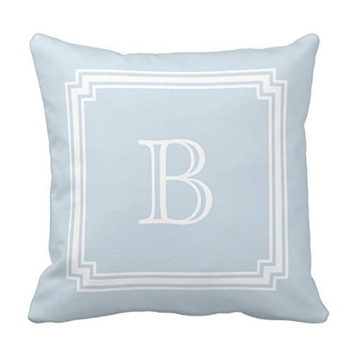 Decors Notched Corner Frame Baby Blue Background Monogram Throw Pillow Case Cushion Cover Home Sofa Decorative 16 X 16 Pillow