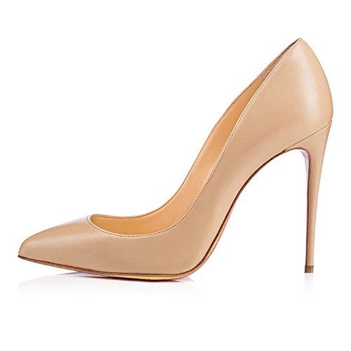 EDEFS - Scarpe col Tacco Donna - Classico Scarpe col Tacco - Sexy High Heels - Nude - Taglia EU40