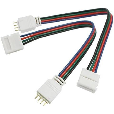 SODIAL(R) Cable Conector de Tira RGB LED Luz 4 Pin Macho a 10mm Anchura