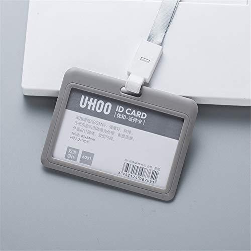 Alivier Badge Holder Horizontal ID Badge Card Holder with Detachable Lanyard/Strap (Holder Id Badge Retractable)