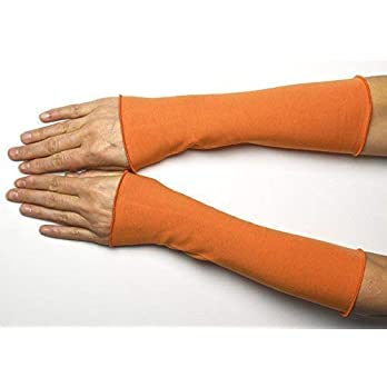 Lange Sommer Stulpen Baumwolle orange 25 cm