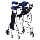 KOSHSH Heimhelfer-Gehrahmen, Multifunktionsverstellbare Hemiplegische Rehabilitation stehender Rollator und mehrere Möglichkeiten,Blue,6wheelA