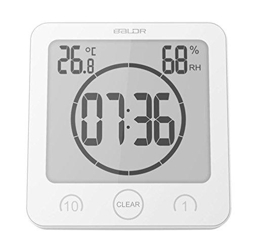 Badezimmer Uhr wasserdicht Dusche Uhr Saugnapf Halterung LCD Digitalanzeige Zeit, Temperatur, Feuchtigkeit, 1/10 Minuten Timer Küche Badezimmer 11. 5 * 11. 5 * 5CM ( Color : Weiß ) - Dusche Uhr Lcd