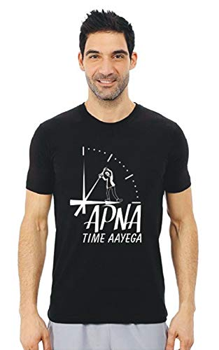 Tee Town Apna Time Aayega Cotton Round Neck T-Shirt for Mens (Black, XX-Large)