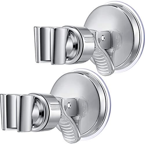 2 Packungen Verstellbarer Brausehalter Bad Saugnapf Handbrausehalter Halterung Kunststoff ABS mit Chrom Poliert für Marmor Glas Metall Keramik (Silber Schraubenschlüssel)
