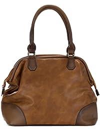 Handbag Republic Vegan Women s PU Leather Fashion Handbag Top Handle  Satchel Style Old Vintage Doctor Bag 101a996715b95