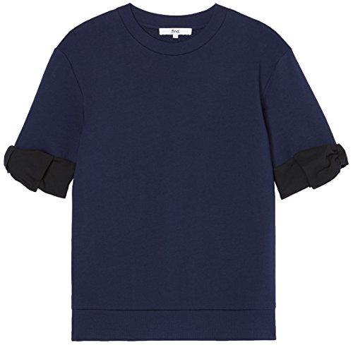 FIND Damen Bluse mit Schleifendetail Blau (Navy Mix), 38 (Herstellergröße: Medium)