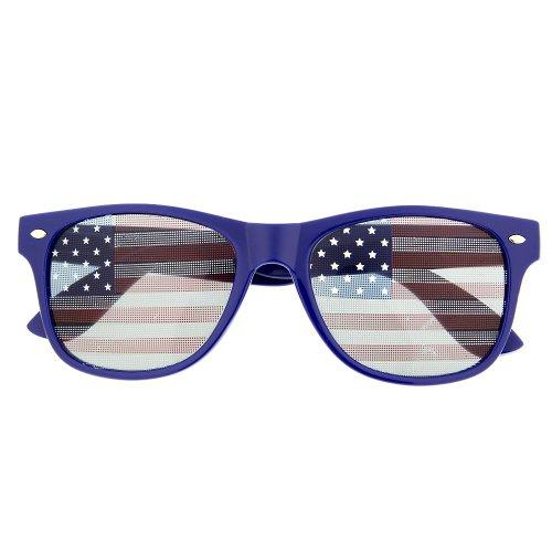 grinderPUNCH USA-Flagge-Sonnenbrille-Glas-Patriot Shades Juli-Unabhängigkeit 55 Erwachsene Blau