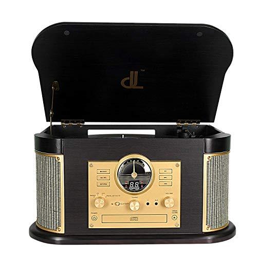 Plattenspieler,DLITIME Record Playe mit AM & FM Radio/USB/RCA/AUX/CD/Bluetooth Stereo Lautsprecher Vinyl Plattenspieler