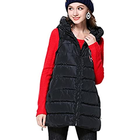 XYXY Diseño de moda de mujer con capucha de algodón chaleco . black . xxxl