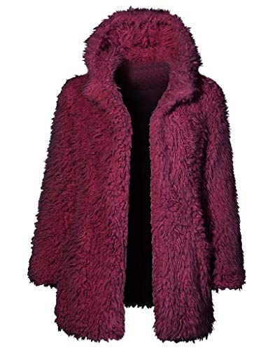 Damen Mantel Fleecemantel mit Kapuze Strickjacke MYMYG Winter Plüschjacke Warm Winterjacke Steppjacke Outwear Cardigan Langarm Teddy-Fleece Parka Kapuzenjacke Trench Coat (A4-Weinrot,EU:34/CN-S) Satin Trench