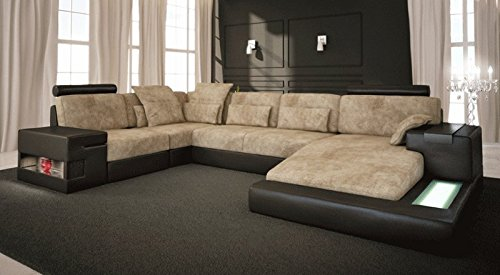 ecksofa wohnlandschaft u form beige braun leder stoff. Black Bedroom Furniture Sets. Home Design Ideas