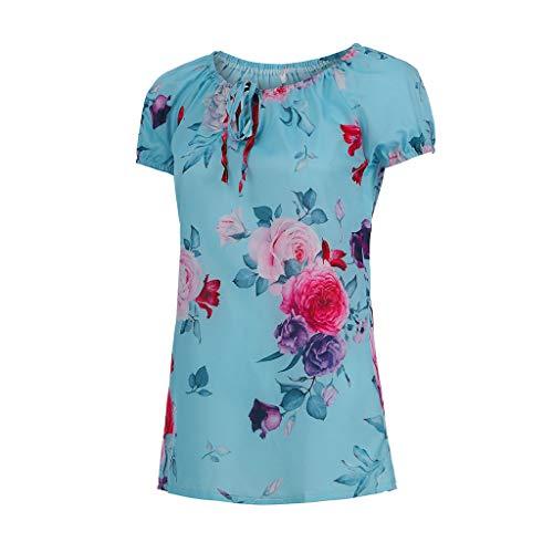 Large Size Floral Print Drawstrings für die Dame, Frauen Sexy V-Ausschnitt Bluse Kurzarm Plissee Tops Sommer Shirt - Seide Bauer Bluse