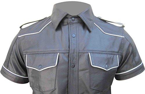 Bespoke Tailored LeatherHerren Langarmshirt Red White Blue Black Pipping