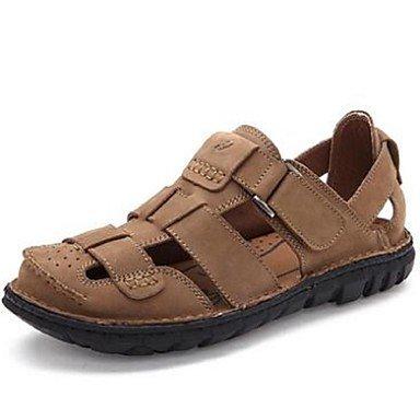 Uomini sandali sandali estivi di vacchetta Casual tacco piatto altri marrone / Khaki Altri Khaki