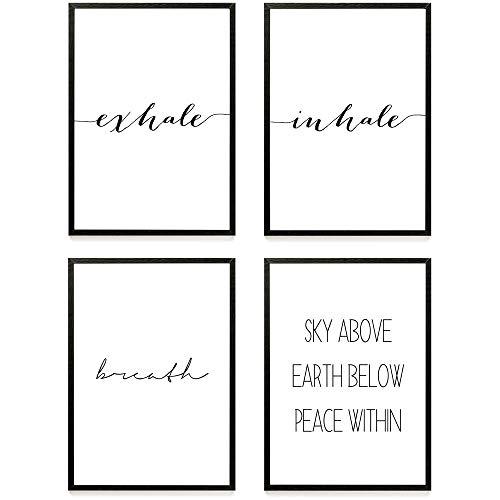 Heimlich ® Premium Poster Set | Stilvolles Set mit passenden Bilder in Schwarz-Weiß | 4 Stück in DIN A4 (21x30cm) | Ohne Bilderrahmen » Yoga/Joga «